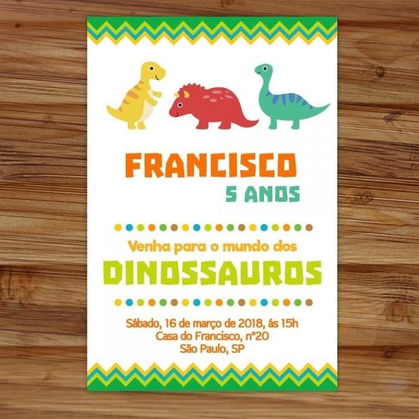 Arte digital convite aniversário tema dinossauros festa