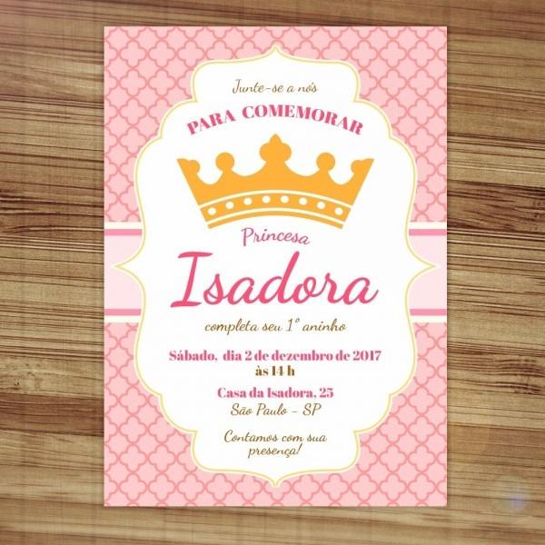 Convite aniversário festa princesa coroa