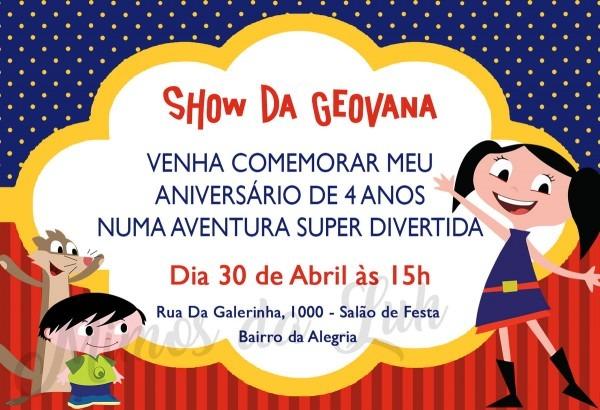 Convite aniversário show da luna