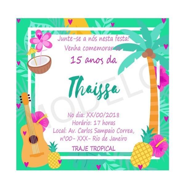 Convite digital tropical 15 anos, aniversários, festas