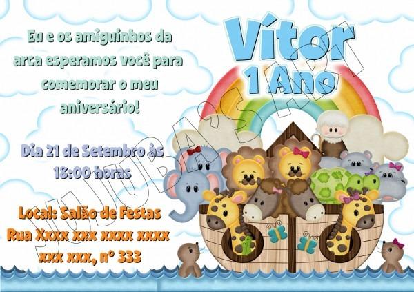 Convite Arca De Noé Sem Envelope No Elo7