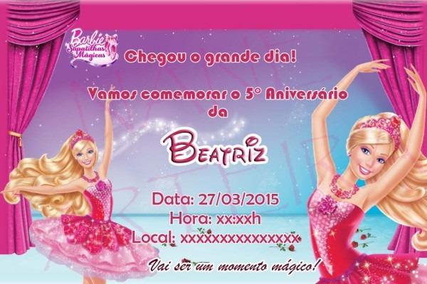 Convite barbie sapatilhas mÁgicas no elo7