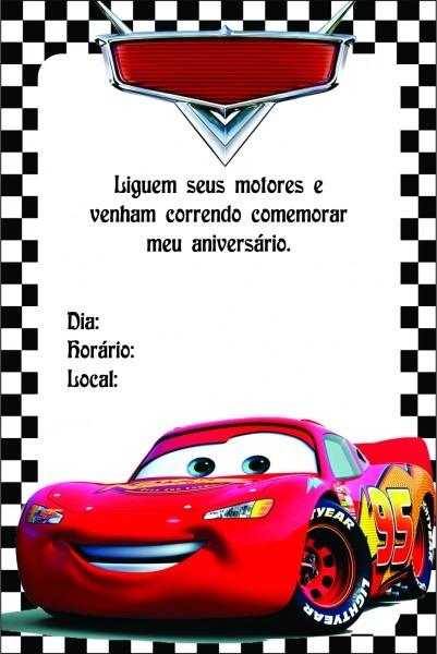 Convite Dos Carros Para Editar E Imprimir