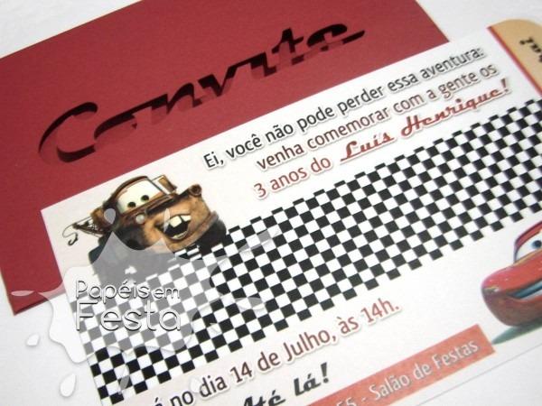 Convite Carros Modelo Retrô No Elo7