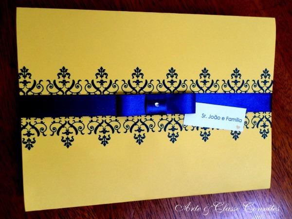 Convite Casamento Azul E Amarelo No Elo7