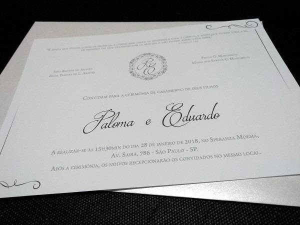 Convite casamento clássico c envelope 170 unid  barato