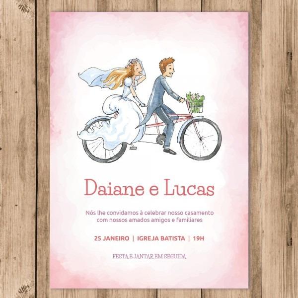 Convite Casamento Digital Noivo Noiva Bicicleta 10x15