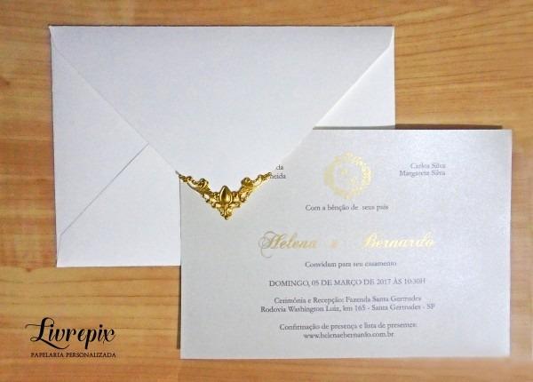 Convite casamento clássico lux ouro no elo7