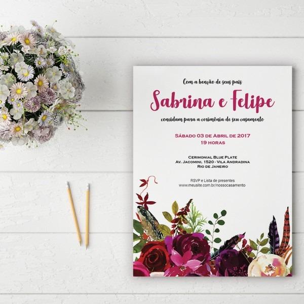 Convite casamento noivado marsala floral impressão mod05 no elo7