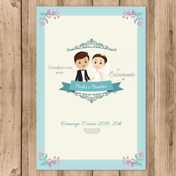 Convite Casamento Noivos Digital Flores 10x15