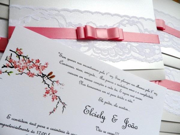 Convite casamento renda passarinhos rosa no elo7