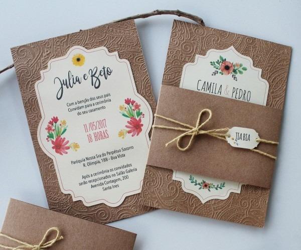 Convite casamento rústico aquarela + tag (50 unidades)