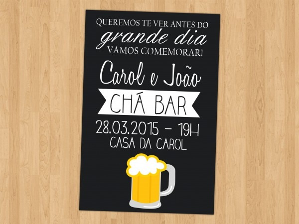 Chá bar convite garrafa convite cerveja casamento