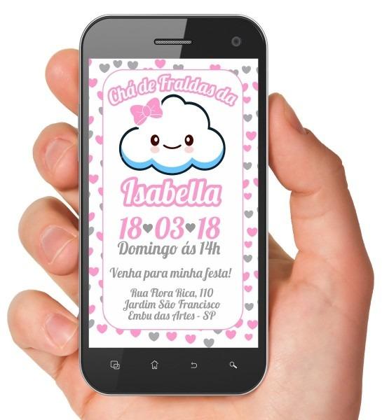 Convite digital chá de bebê nuvem rosa chuva de amor