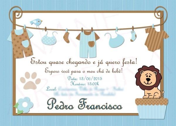 Convite ChÁ De BebÊ Menino No Elo7