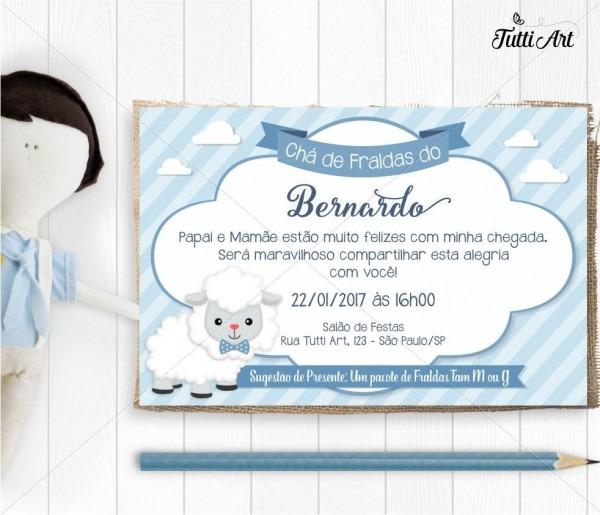 Convite chá de bebê ovelhinha digital no elo7