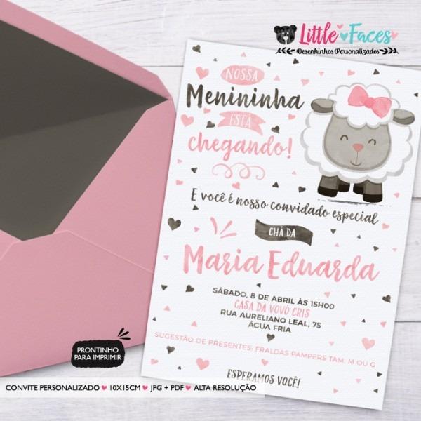 Convite virtual cha de bebe rosa