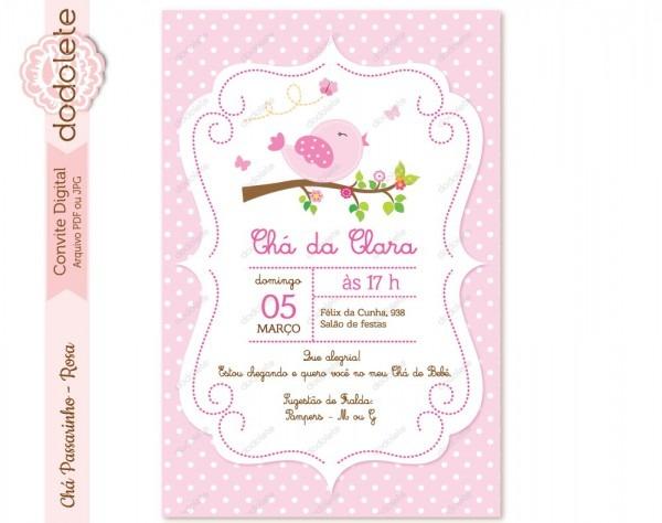 Convite digital chá passarinho rosa no elo7