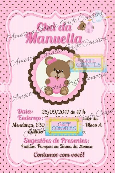 Convite digital chá de bebé ursinha no elo7