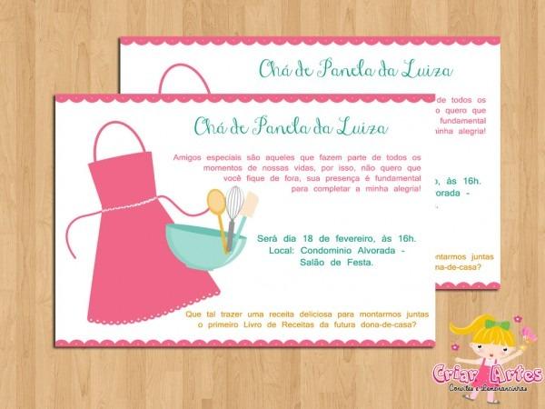 Convite Chá De Cozinha Avental No Elo7