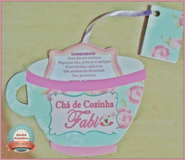 Convite chá de cozinha xícara no elo7