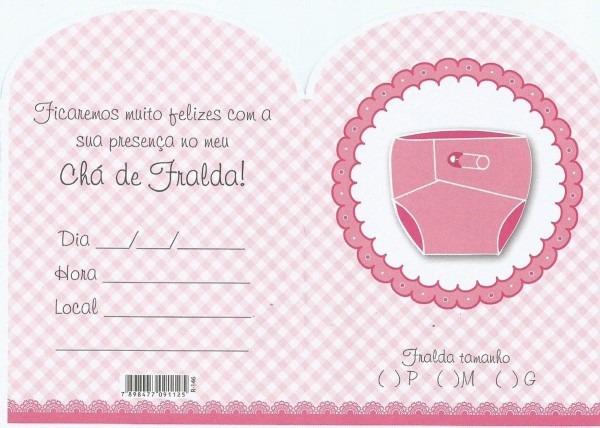 Convite chá de fralda rosa menina