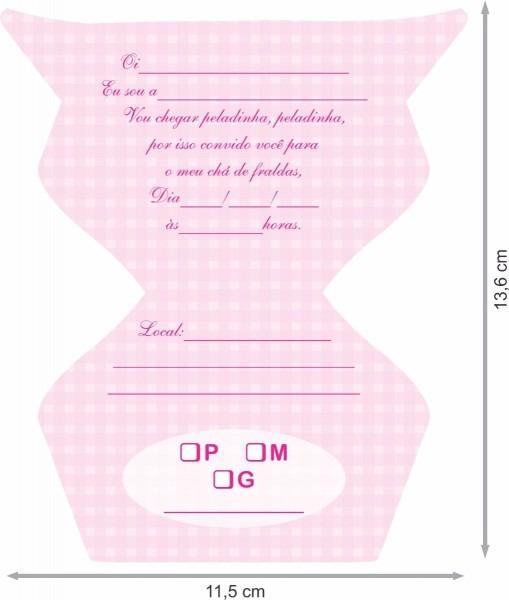 Convite chá de fraldas feminino (com 50 unidades)