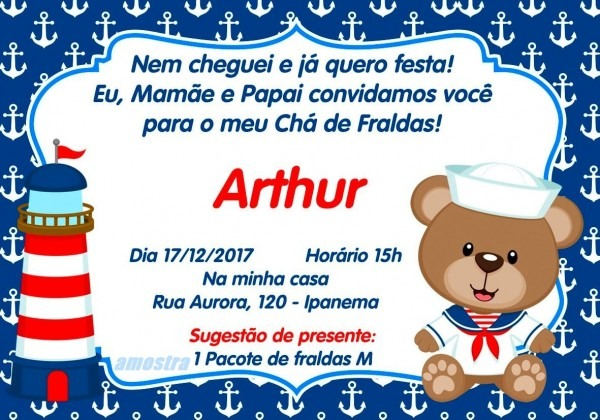 Convite chÁ de fraldas ursinho marinheiro no elo7