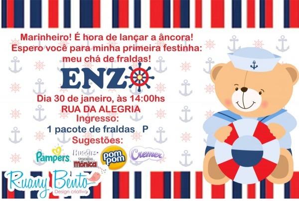 Convite chá de fraldas urso marinheiro no elo7
