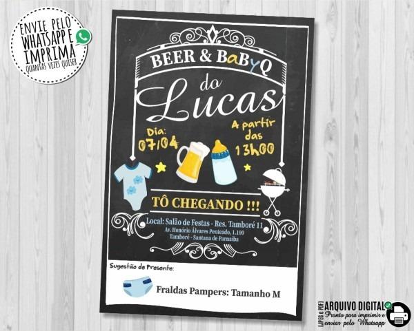 Convite chá de bebe churrasco cerveja beer baby q digital no elo7