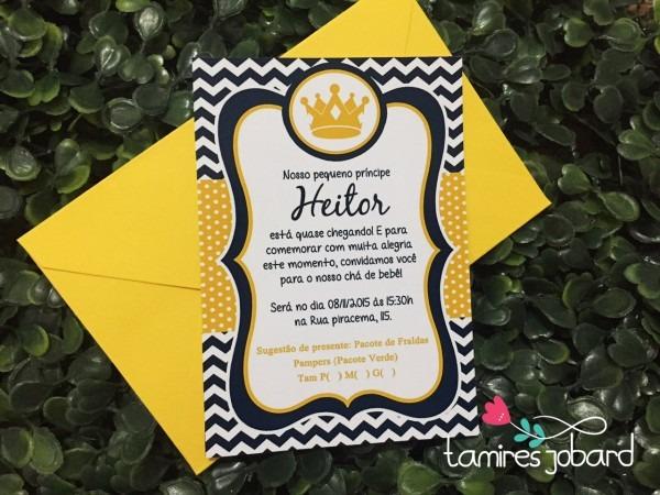 Convite coroa azul marinho e amarelo no elo7