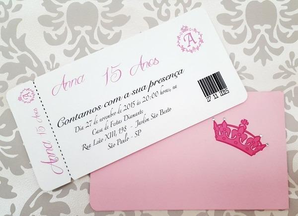 Convite de 15 anos, festa debutante rosa personalizado c60
