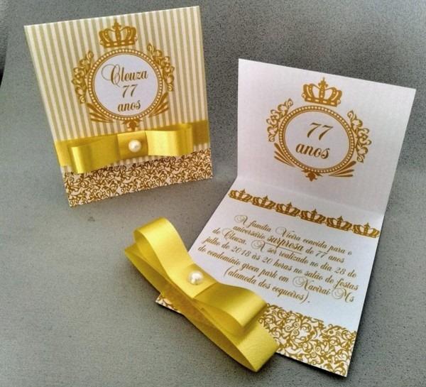 Convite de aniversário dourado no elo7