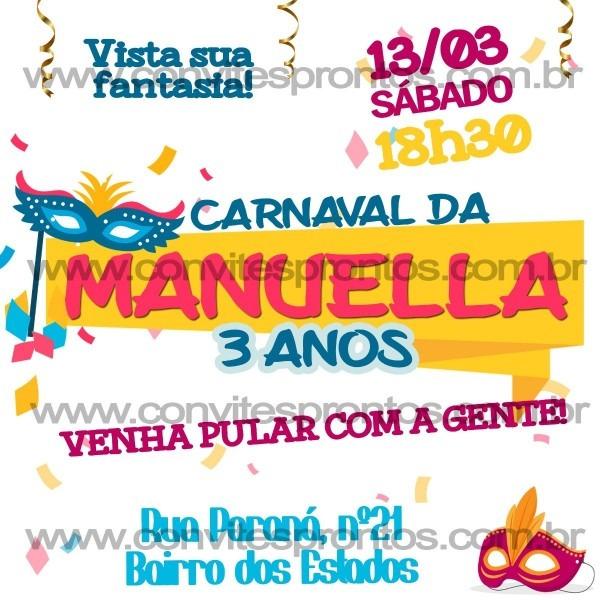 Convite de aniversário infantil digital carnaval