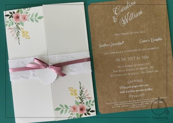 Convite De Casamento Caroline No Elo7