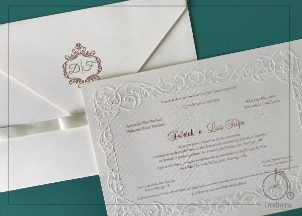 Convite de casamento deborah no elo7