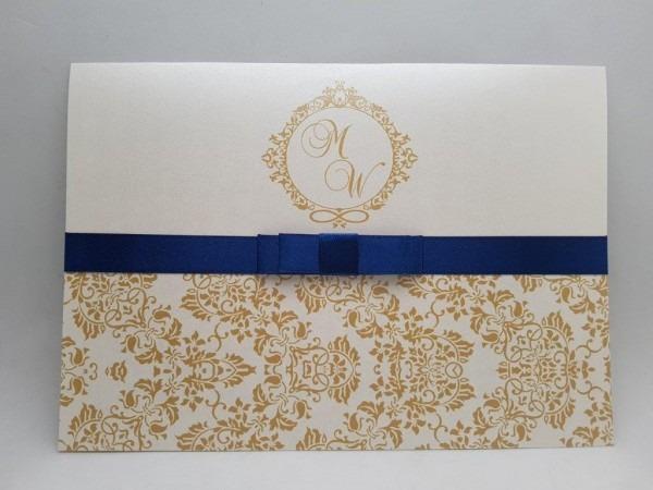 Convite de casamento dourado no elo7