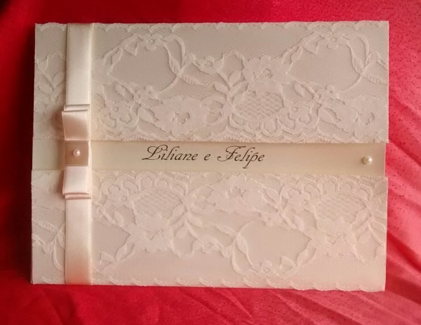 Convite de casamento esmeralda rendado no elo7