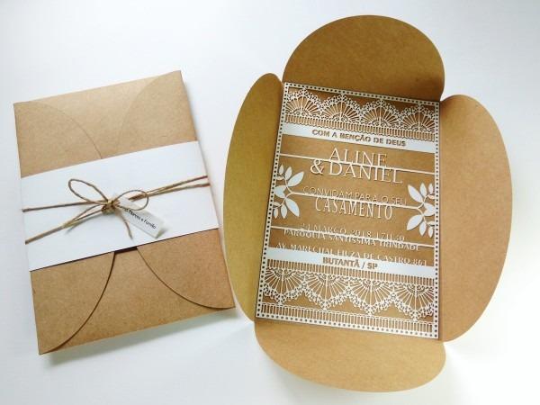 Convite de casamento letras vazadas no elo7