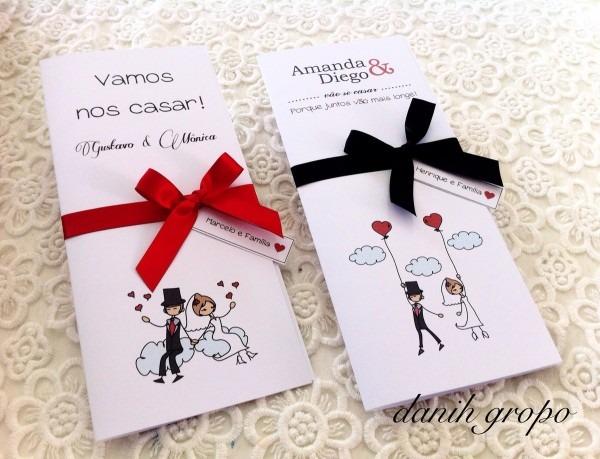 Convite de casamento noivinhos balões no elo7
