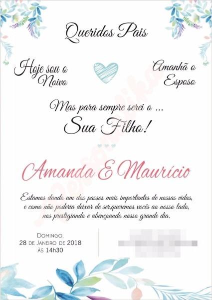 Convite de casamento para os pais