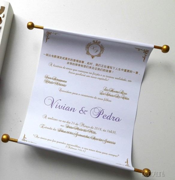 Convite de casamento pergaminho branco no elo7