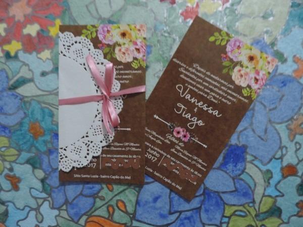 Convite de casamento rustico 18x10 65 und + tag + embalagem