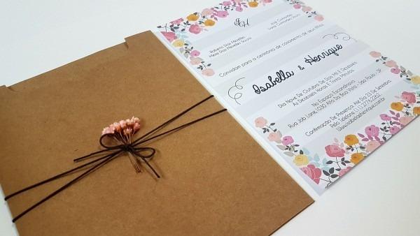 Convite de casamento rústico chic flor no elo7
