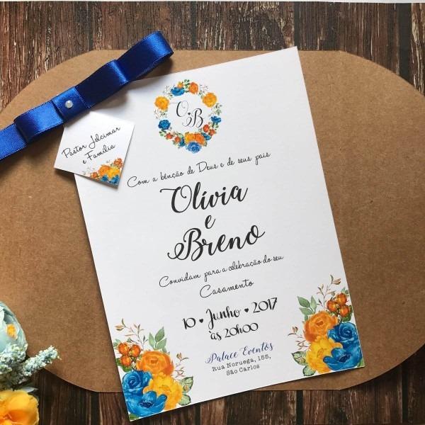 Convite De Casamento Rústico Floral Amarelo E Azul Royal