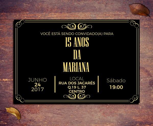 Convite digital 18 anos preto e dourado vintage no elo7
