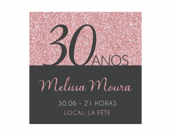 Convite digital aniversário 30 40 50 anos feminino virtual