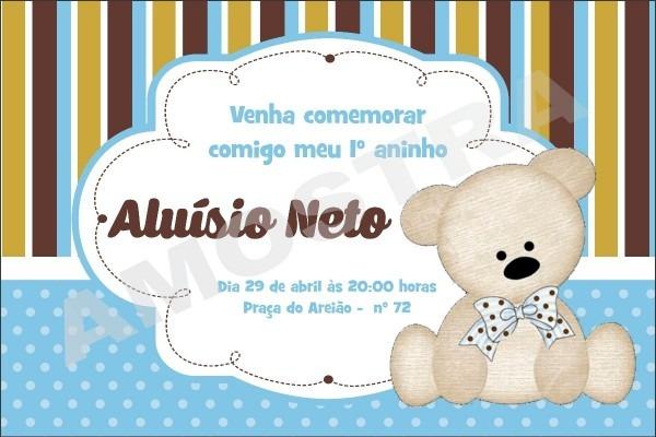 Convite Digital Aniversario Whatsapp Facebook Urso Bege Azul