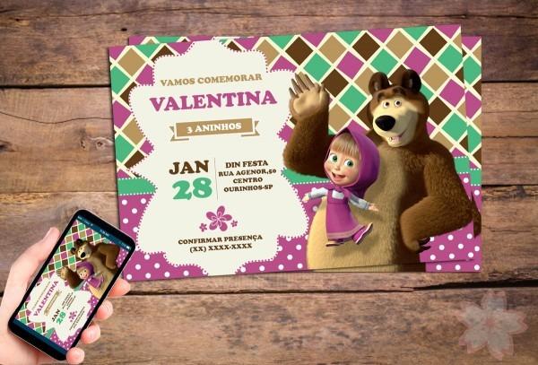Convite digital m a s h a e o urso 1 no elo7