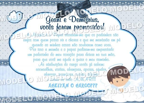 Convite Digital Batizado Padrinhos Email No Elo7